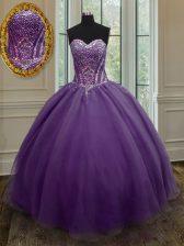 Purple Sleeveless Beading Floor Length 15 Quinceanera Dress