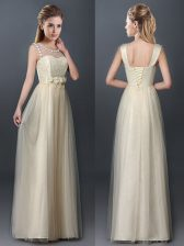 Comfortable Scoop Champagne Sleeveless Lace and Hand Made Flower Floor Length Vestidos de Damas
