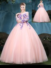 Tulle Scoop Long Sleeves Lace Up Appliques Sweet 16 Quinceanera Dress in Baby Pink
