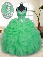 Organza Zipper Straps Sleeveless Floor Length 15 Quinceanera Dress Beading and Ruffles and Pick Ups