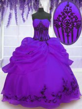 Best Purple Strapless Neckline Embroidery 15th Birthday Dress Sleeveless Lace Up