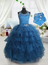 Teal Lace Up Kids Pageant Dress Beading and Ruffled Layers Sleeveless Floor Length