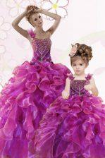 Delicate Fuchsia Sweetheart Lace Up Beading and Ruffles Sweet 16 Dresses Sleeveless