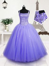 Lavender Tulle Lace Up Little Girl Pageant Gowns Sleeveless Floor Length Beading and Sequins
