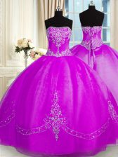 Floor Length Lace Up Quinceanera Dresses Purple for Military Ball and Sweet 16 and Quinceanera with Beading and Embroidery