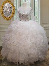 Luxury See Through Scoop Long Sleeves Sweet 16 Dresses Floor Length Beading and Ruffles White Organza
