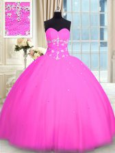 Admirable Pink Sleeveless Tulle Lace Up 15th Birthday Dress for Military Ball and Sweet 16 and Quinceanera