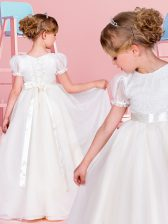 Noble Scoop White Chiffon Lace Up Toddler Flower Girl Dress Short Sleeves Floor Length Lace and Belt