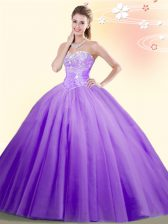 New Style Sweetheart Sleeveless Lace Up Vestidos de Quinceanera Lilac Tulle