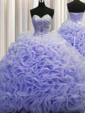 Rolling Flowers Sleeveless Brush Train Beading and Pick Ups Lace Up Sweet 16 Dresses