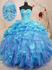 Aqua Blue Sleeveless Floor Length Beading and Ruffles Lace Up Vestidos de Quinceanera