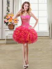 Exquisite Mini Length Ball Gowns Sleeveless Multi-color Prom Evening Gown Lace Up