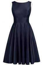 Navy Blue Scoop Neckline Bowknot Prom Evening Gown Sleeveless Backless