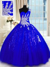Tulle and Sequined One Shoulder Sleeveless Lace Up Appliques Sweet 16 Dresses in Royal Blue