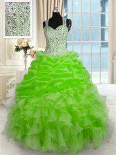 Clearance Sleeveless Zipper Floor Length Beading Sweet 16 Quinceanera Dress