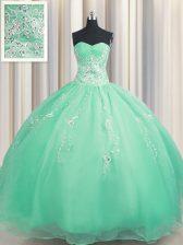 Trendy Zipper Up Ball Gowns Quinceanera Dresses Apple Green Sweetheart Organza Sleeveless Floor Length Zipper
