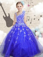 Floor Length Blue Little Girls Pageant Dress Wholesale Organza Sleeveless Beading and Appliques and Hand Made Flower