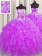Handcrafted Flower Lilac Sleeveless Floor Length Beading and Ruffles and Hand Made Flower Lace Up Quinceanera Gowns