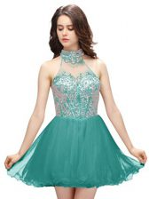 Sleeveless Zipper Mini Length Beading Evening Dress