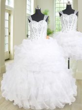 High Class Three Piece Straps Beading and Ruffles Quinceanera Gown White Lace Up Sleeveless Floor Length