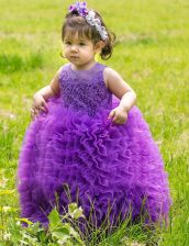 Lovely Scoop Lavender Sleeveless Floor Length Lace and Ruffles Lace Up Flower Girl Dress