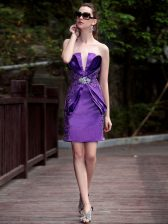 Purple Sleeveless Beading and Appliques Knee Length Prom Evening Gown