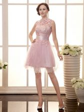 Delicate Sleeveless Zipper Mini Length Lace Homecoming Dress