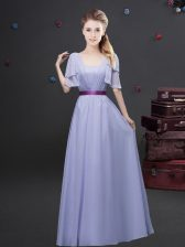 Square Lavender Empire Ruching and Belt Quinceanera Court Dresses Zipper Chiffon Short Sleeves Floor Length