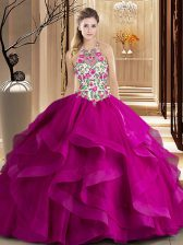 Scoop Tulle Sleeveless Quince Ball Gowns Brush Train and Embroidery and Ruffles