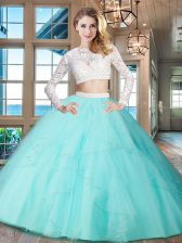 Excellent Two Pieces Sweet 16 Dress Aqua Blue Scoop Tulle Long Sleeves Floor Length Zipper
