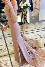 Low Price Mermaid Off The Shoulder Short Sleeves Sweep Train Zipper Pink Elastic Woven Satin