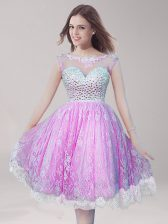 Lace Lilac Homecoming Dress Prom and Party with Beading Scoop Sleeveless Backless