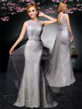 Excellent Grey Backless Bateau Lace and Belt Prom Dress Tulle and Lace Sleeveless Watteau Train