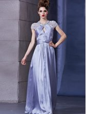 Excellent Lavender Halter Top Zipper Beading and Ruching Dress for Prom Sleeveless