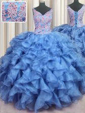 Ruffled Baby Blue Ball Gowns Organza V-neck Sleeveless Appliques and Ruffles Floor Length Lace Up 15th Birthday Dress