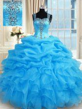 Elegant Beading Quinceanera Gown Baby Blue Zipper Sleeveless Floor Length