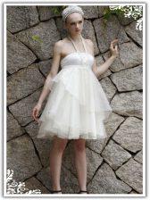 Gorgeous Organza Halter Top Sleeveless Zipper Ruffles Evening Dress in White