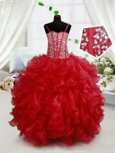 Red Organza Lace Up Spaghetti Straps Sleeveless Floor Length Little Girl Pageant Dress Beading and Ruffles