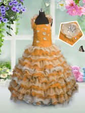 Orange Ball Gowns Straps Sleeveless Organza Floor Length Lace Up Beading and Appliques and Ruffled Layers Kids Pageant Dress
