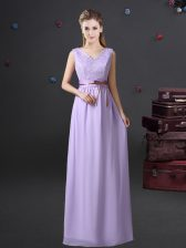 Sleeveless Chiffon Floor Length Lace Up Quinceanera Dama Dress in Lavender with Lace and Belt