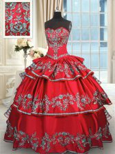 Gorgeous Red Ball Gowns Taffeta Sweetheart Sleeveless Embroidery and Ruffled Layers Floor Length Lace Up Vestidos de Quinceanera