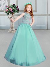 Apple Green Ball Gowns Bateau Sleeveless Organza Floor Length Lace Up Beading Girls Pageant Dresses