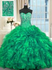 Best Selling Organza Sleeveless 15 Quinceanera Dress Brush Train and Beading and Ruffles
