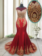 Mermaid Scoop Cap Sleeves Prom Evening Gown With Brush Train Appliques Red Elastic Woven Satin