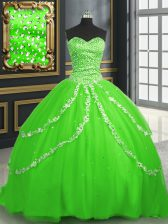 Luxury Lace Up Vestidos de Quinceanera Beading and Appliques Sleeveless With Brush Train