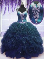 Straps Sleeveless Beading and Ruffles Zipper Quinceanera Gowns