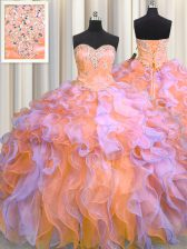 Sweetheart Sleeveless Organza Ball Gown Prom Dress Beading and Appliques and Ruffles Lace Up