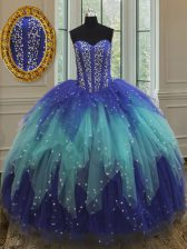 Sleeveless Floor Length Beading and Ruffles Lace Up Quinceanera Dresses with Royal Blue and Aqua Blue