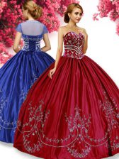 Eye-catching Wine Red Ball Gowns Embroidery Quinceanera Dresses Lace Up Taffeta Sleeveless Floor Length