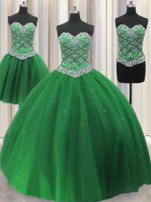Three Piece Green Ball Gowns Sweetheart Sleeveless Tulle Floor Length Lace Up Beading and Sequins 15 Quinceanera Dress